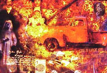 Baba's Eulogy by Donna Goodman- fire collage artwork