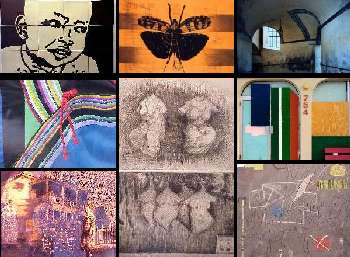 Collage of nine faculty art pieces