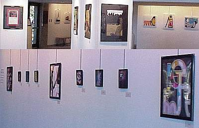 Graphic Design pieces hanging on the wall