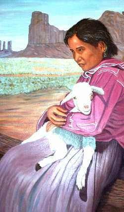 Painting by James Meekins of woman holding a lamb