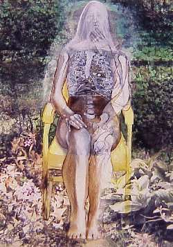 Woman sitting on a yellow chair artwork