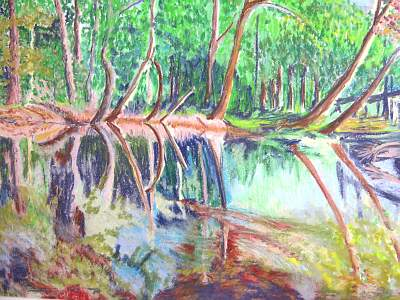 Painting of a river and trees