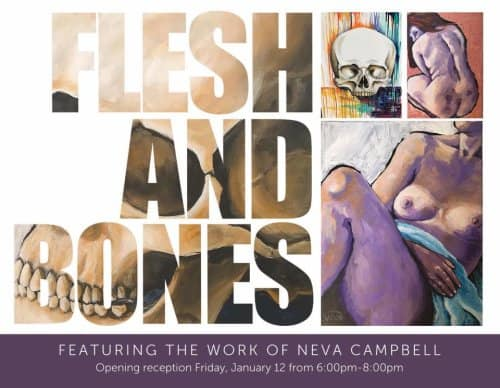 Gallery Series: Flesh and Bones by Neva Campbell and Anthro/Botanical ceramic sculpture by Elaine Quave