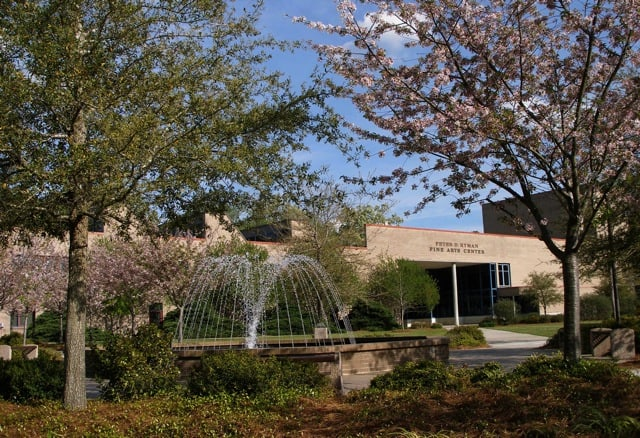 The fountain in front of the FMU Fine Arts Center