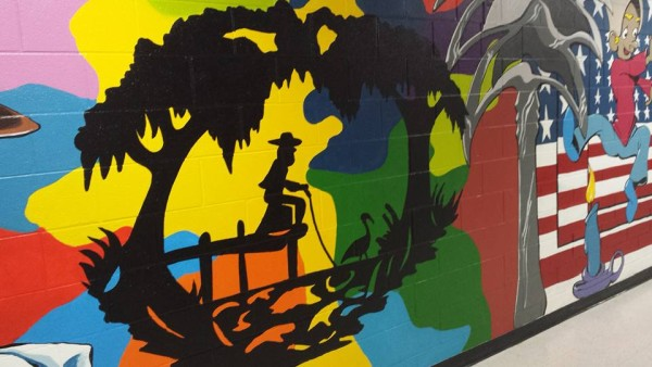 Colorful mural at Chester Park Elementary School