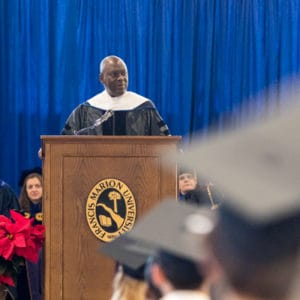 Speaker at fall commencement