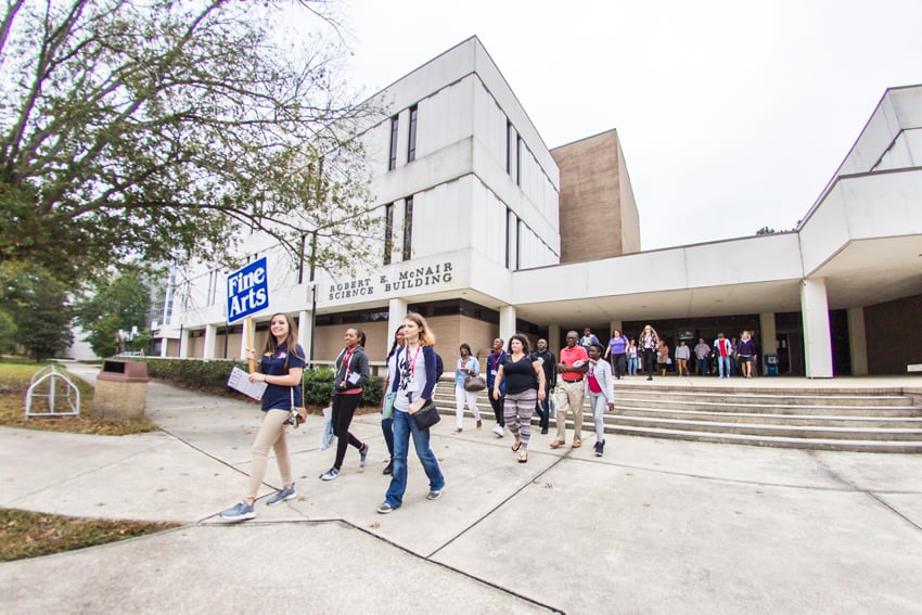 Students walk through campus during Open House.