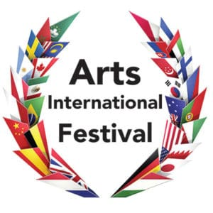 graphic with various country's flags and Arts International Festival text