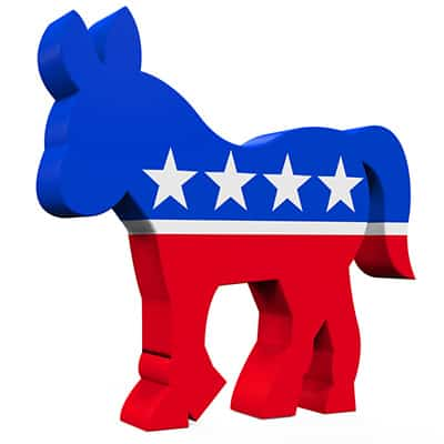 red white and blue starred donkey symbol of democratic