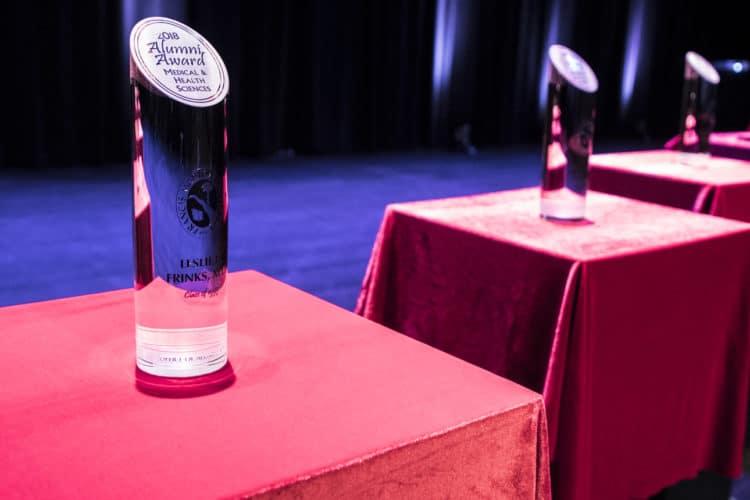 Closeup of alumni award