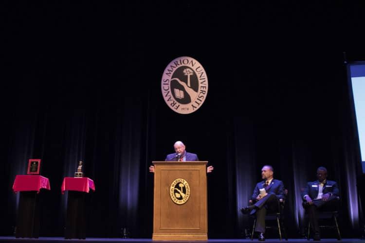 President Carter speaking at FMU alumni awards