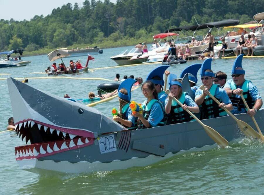 Cardboard boat race participants