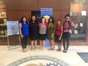 HOSA Members (Genien Clark, Lakeeshia Townsend, Dr. Kershner, Brittney Bell, Tierra Scarborough, Brittany Lucas) presenting at the Jefferson Awards Foundation Student In Action Fall Leadership Conference, October 2017