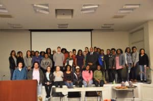 HOSA Members with Les Echols, Director of Community and Minority Enterprise with Florence Chamber of Commerce, and Brianna Jones (Heathcare Administration Alumni and Grants Coordinator with FMU School of Health Sciences), February 2018 meeting