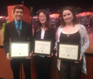 Math students accepting their awards