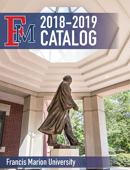 Catalog cover showing photo of statue of Dr. Doug Smith on the rotunda behind Stokes Administration Building.