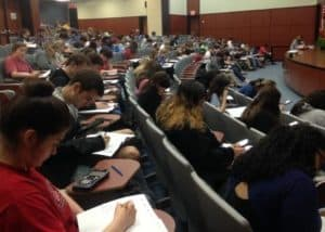 Students taking the AP calculus practice exam