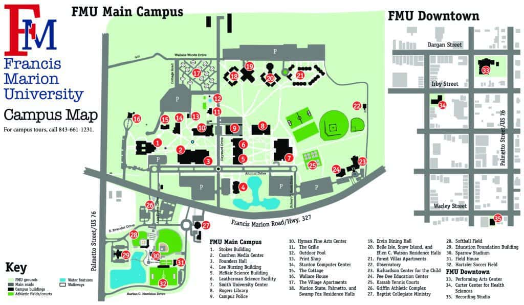 Admissions – Campus Visit | Francis Marion University on pennsylvania college of technology campus map, lycoming college campus map, york college of pa parents, muhlenberg college campus map, university of chicago campus map, castleton state college campus map, university of southern indiana campus map, messiah college campus map, nichols college campus map, connecticut college campus map, york college of pa history, wilson college campus map,
