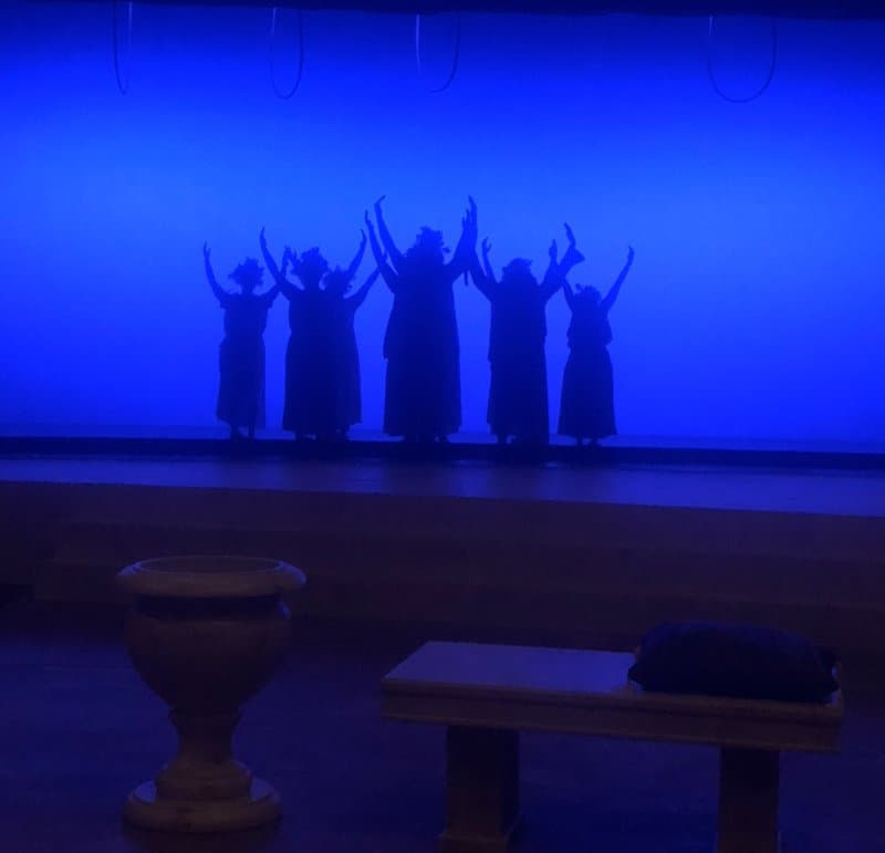 Students perform for the FMU Theatre Bacchae 1810.