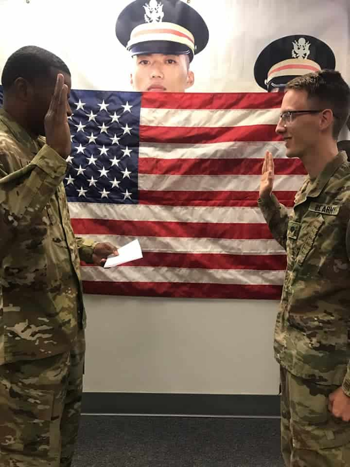 ROTC members make an oath.