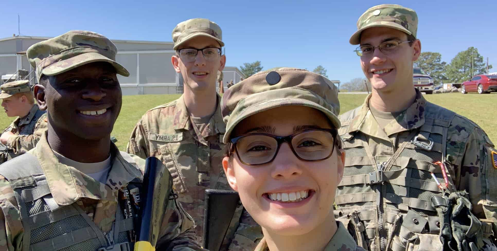ROTC members pose for a picture.