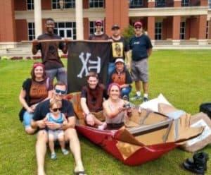 Math Club cardboard boat