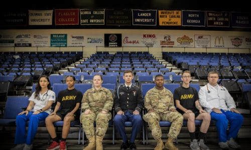 Members of ROTC pose for a picture.
