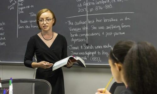 Dr. Clark explains a passage to her class.