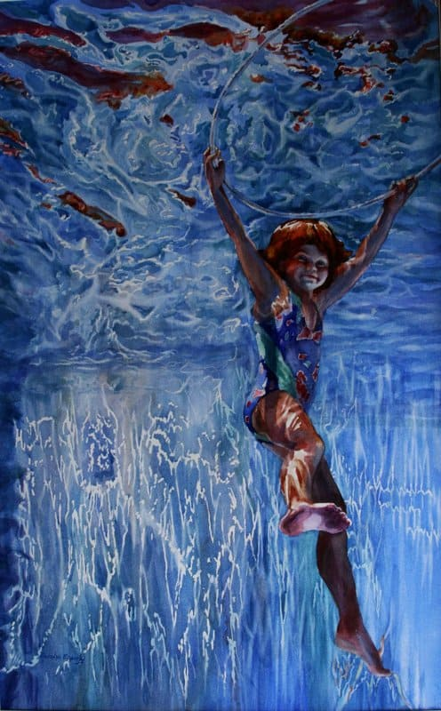 A painting of a young child underwater.