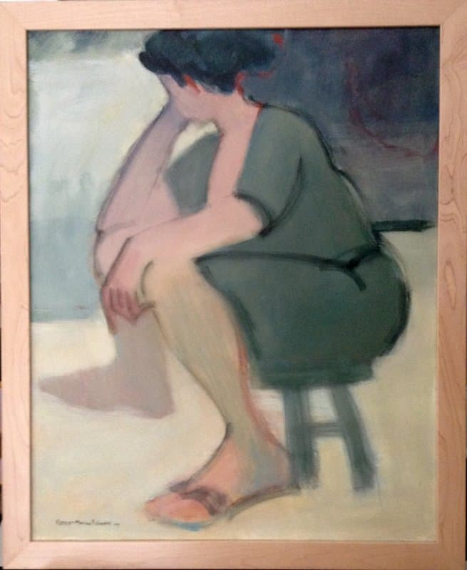 A painting of a woman sitting on a stool.