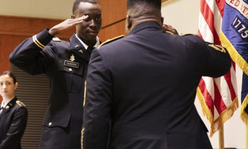 Second Lieutenant William Dunson Jr. receives his rest salute from his long-time mentor SFC (RET) Randy Gray.