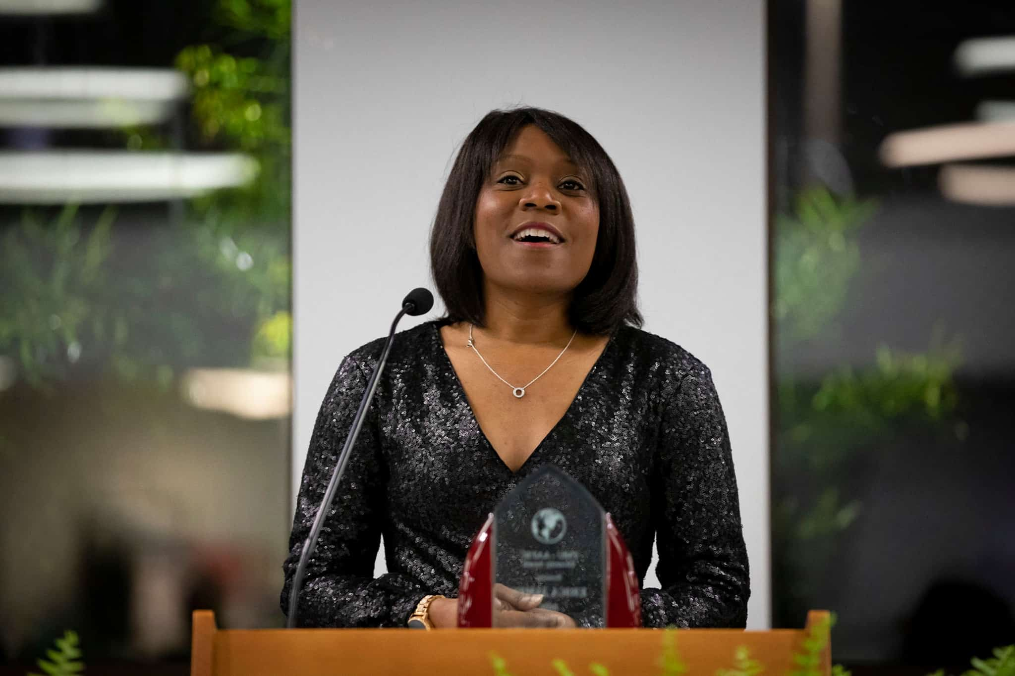 Dr. Erica James receives the African-American Faculty & Staff Coalition's Diversity Award