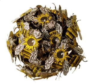 A paper piece depicting bees.