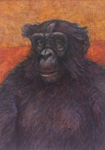 A painting of a bonobo.