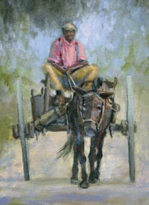A painting depicting a man riding a mule cart.