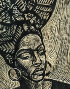 A woodcut piece depicting a woman.