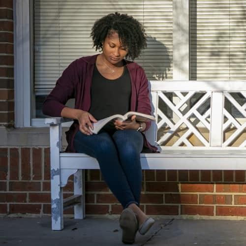 A student reads a book.