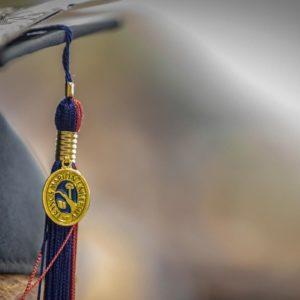 A close-up of a graduate's cap