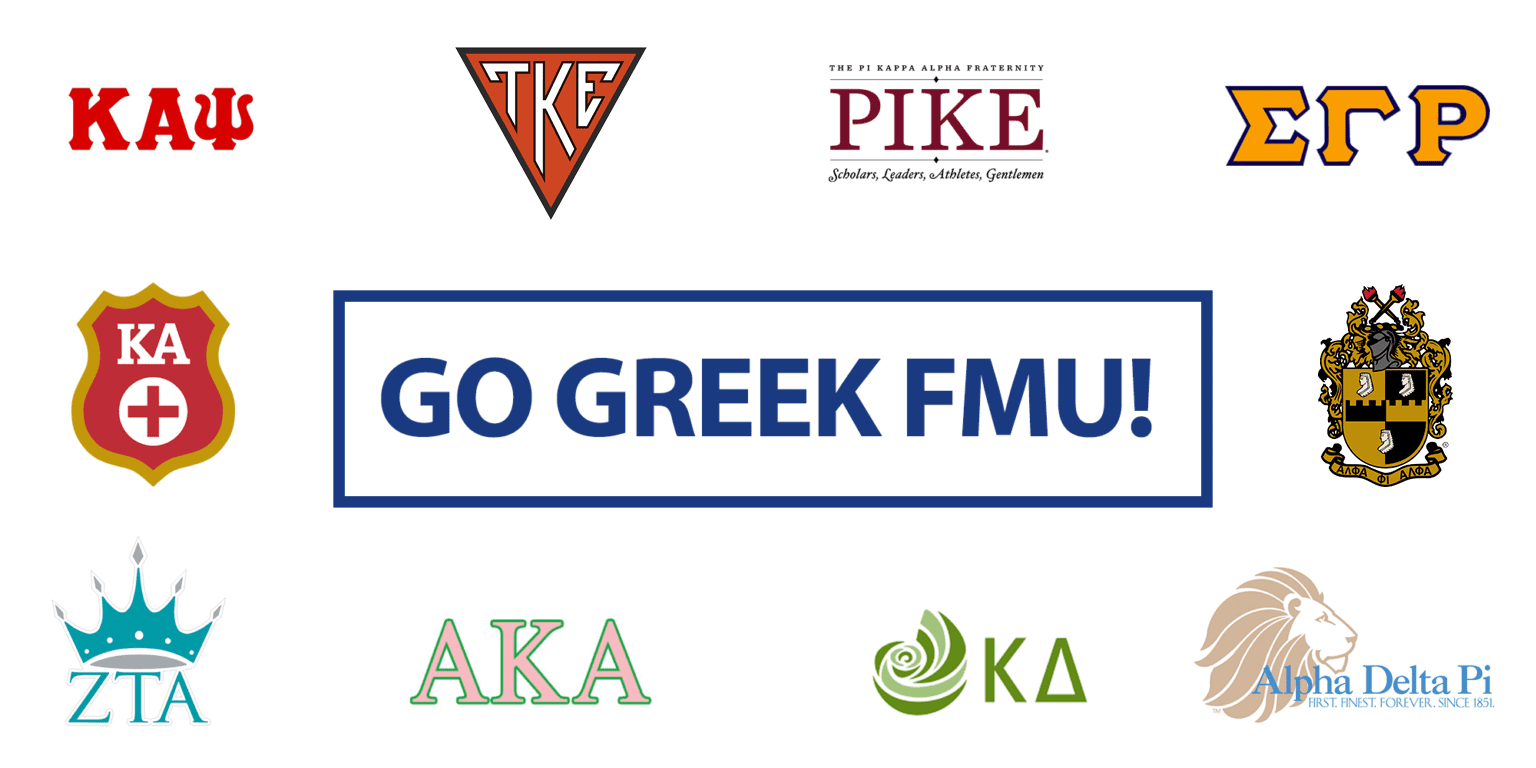 White background with fraternity and sorority logos of active chapters at FMU with GO GREEK FMU! in the center.