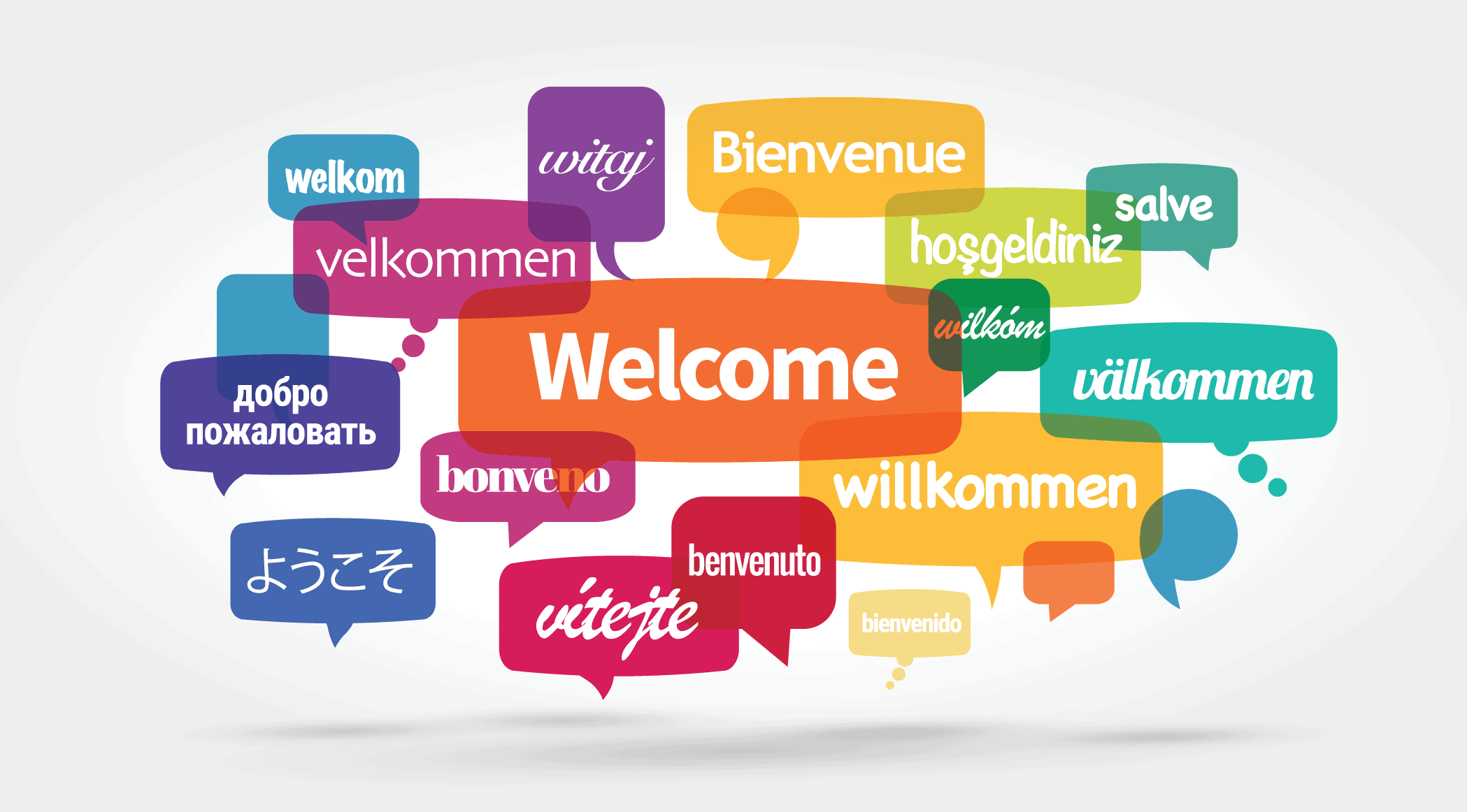 Colorful speech bubbles with hello in different languages