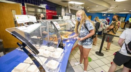 Students eat lunch at Erin Dining Hall.